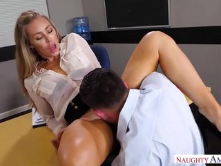 Naughty America - Find Your Fantasy Nicole Aniston fucking in the desk with her medium ass