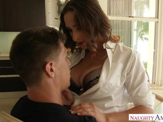 Whorish brunette with big naturals gets roughly fucked in the kitchen