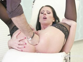 July Sun sits her tight ass down on two hard cocks simultaneously