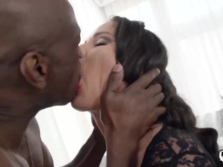Nymphomaniac brunette Nataly Gold is horny for big black dick