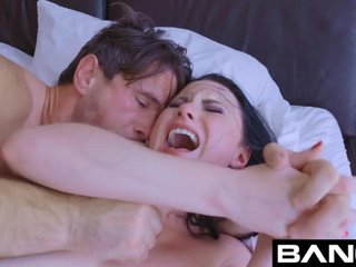 Nasty brunette spreads her ass cheeks to be fucked proper hard