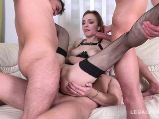 Dirty brunette Belle Claire getting pleased with DAP and DP
